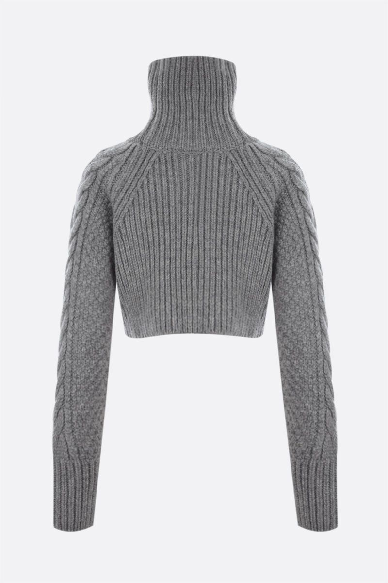 CECILIE BAHNSEN: Giselle alpaca wool blend cropped pullover Color Grey_2
