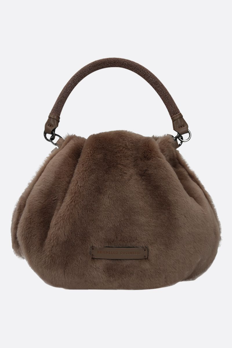 BRUNELLO CUCINELLI: monili-detailed shearling handbag Color Brown_1