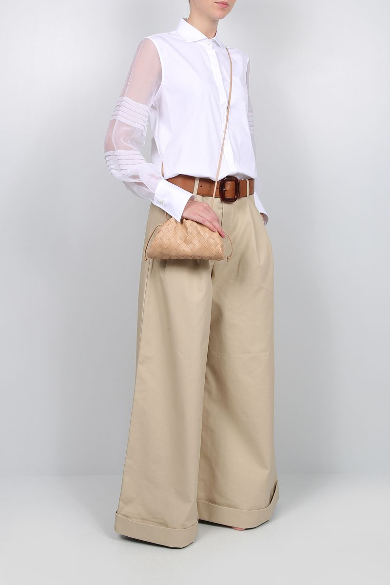 BRUNELLO CUCINELLI: stretch poplin shirt with organdy sleeves Color White_2