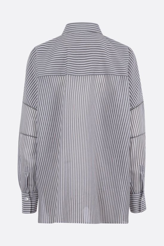 BRUNELLO CUCINELLI: striped cotton silk blend oversize shirt Color Grey_2