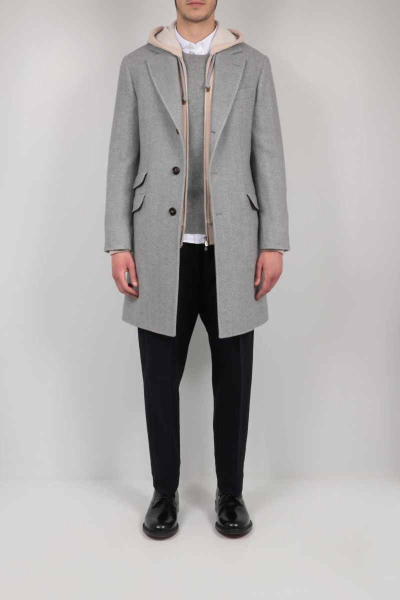 BRUNELLO CUCINELLI: single-breasted cashmere wool blend coat Color Grey_2