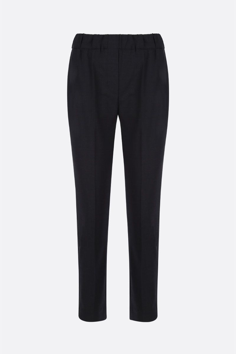 BRUNELLO CUCINELLI: monili-detailed stretch wool joggers Color Black_1
