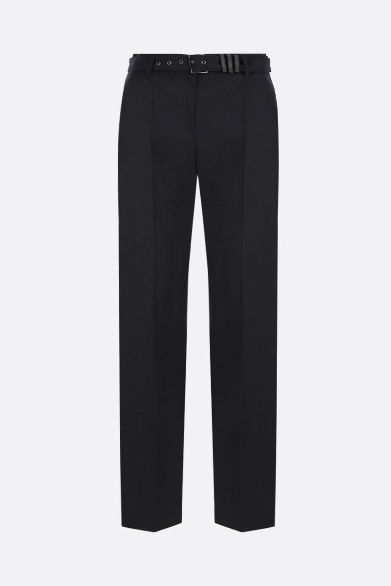 BRUNELLO CUCINELLI: belt-detailed wool blend pants Color Black_1
