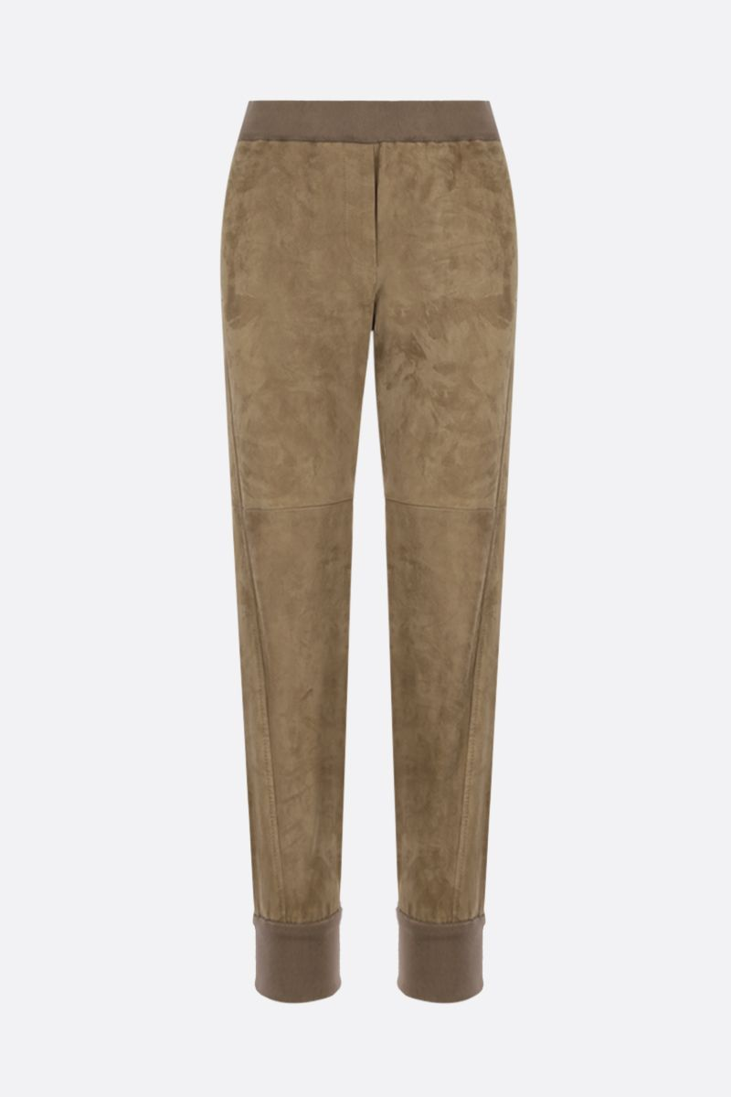 BRUNELLO CUCINELLI: soft suede joggers Color Brown_1