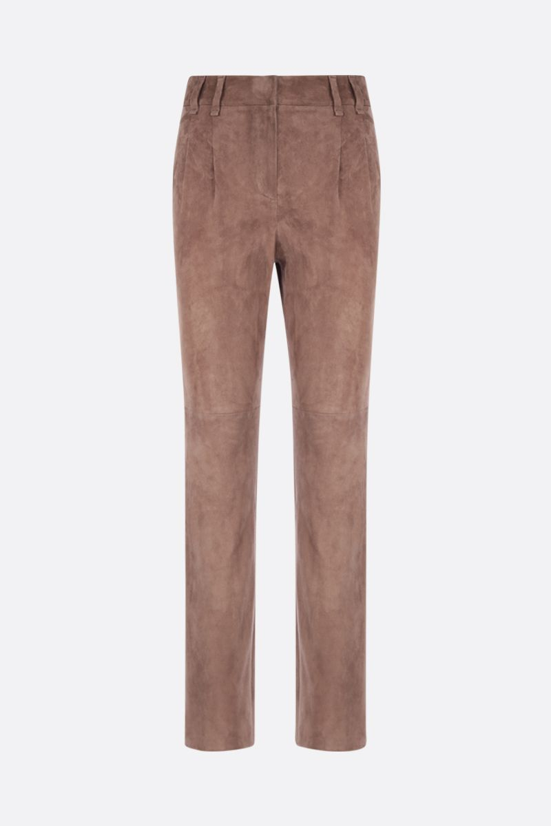 BRUNELLO CUCINELLI: stretch suede pleated chino pants Color Brown_1