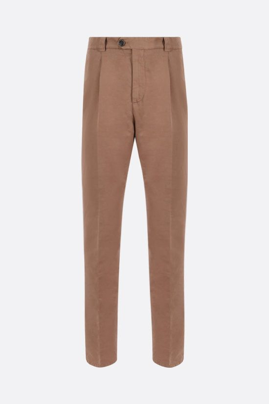 BRUNELLO CUCINELLI: linen cotton blend darted pants Color Grey_1