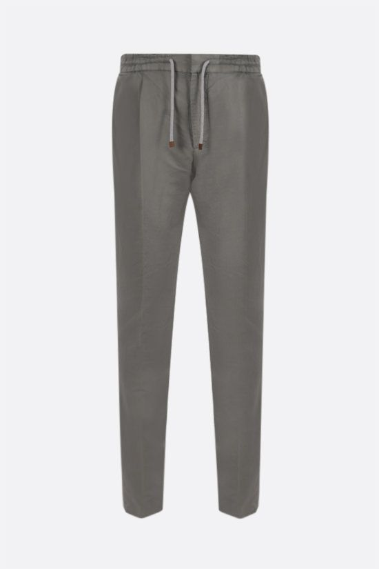 BRUNELLO CUCINELLI: linen cotton blend darted pants Color Brown_1