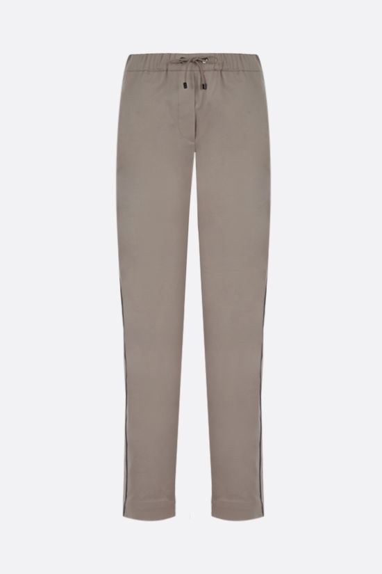 BRUNELLO CUCINELLI: monili-detailed stretch cotton joggers Color Neutral_1