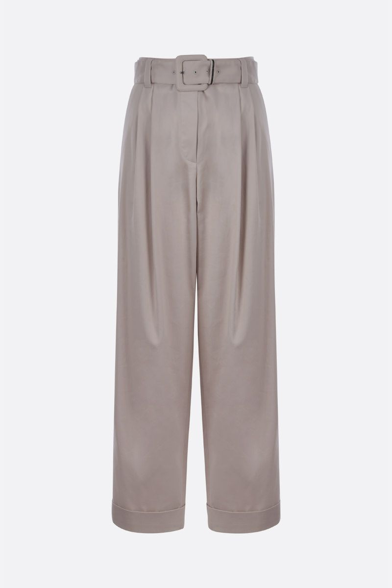 BRUNELLO CUCINELLI: belt-detailed stretch cotton wide-leg pants Color White_1