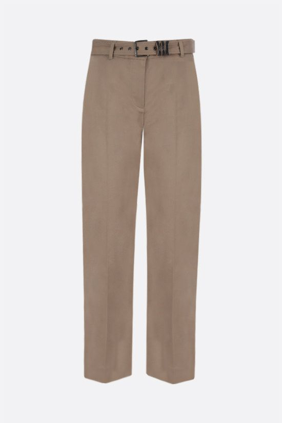 BRUNELLO CUCINELLI: belt-detailed stretch cotton pants Color Neutral_1