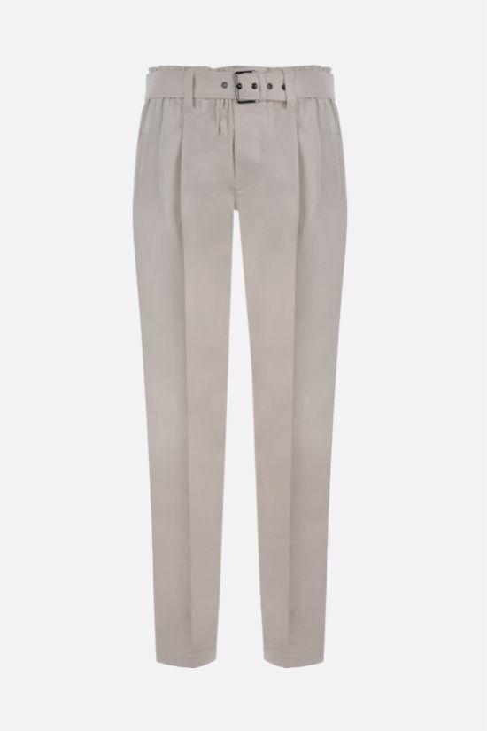 BRUNELLO CUCINELLI: belt-detailed stretch cotton darted pants Color Neutral_1