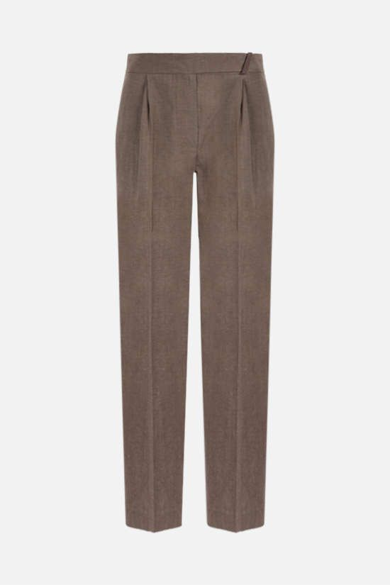 BRUNELLO CUCINELLI: monili-detailed wool linen blend darted pants Color Brown_1