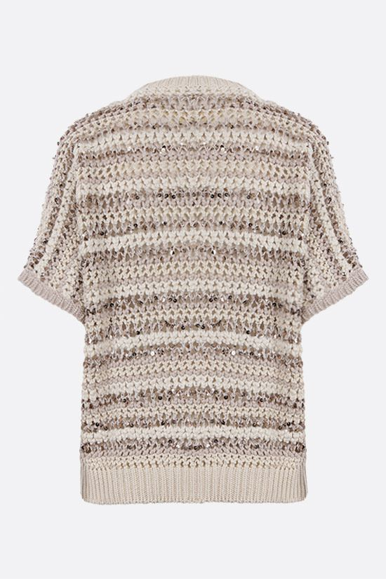 BRUNELLO CUCINELLI: perforated knit short-sleeved pullover Color Neutral_2