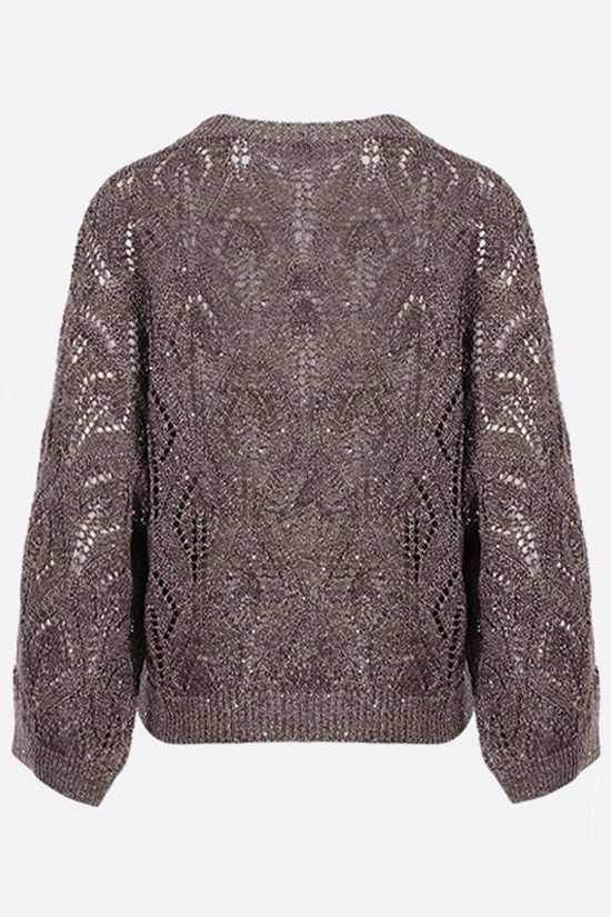 BRUNELLO CUCINELLI: sequin-embellished perforated knit pullover Color Gold_2