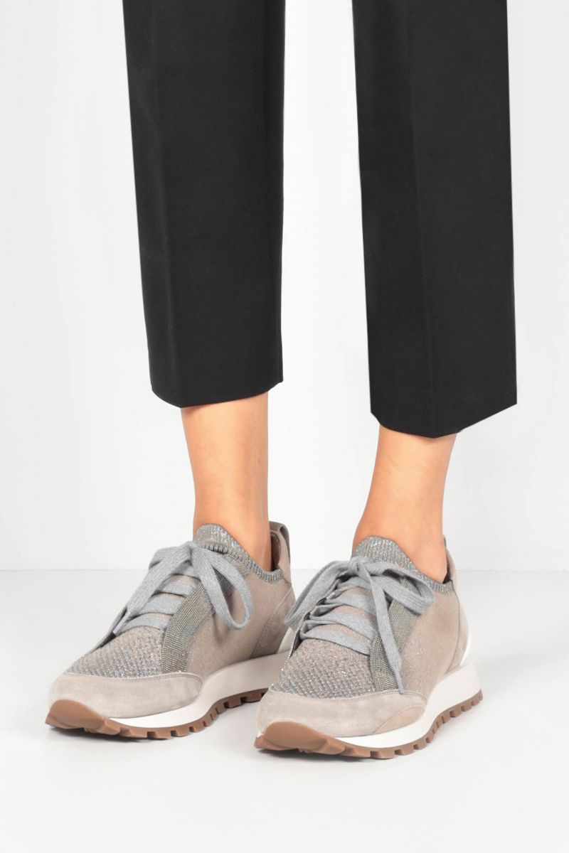BRUNELLO CUCINELLI: Precious Contour-detailed Sparkling knit and suede sneakers_2