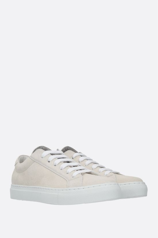 BRUNELLO CUCINELLI: Precious Tongue-detailed suede sneakers Color Neutral_2
