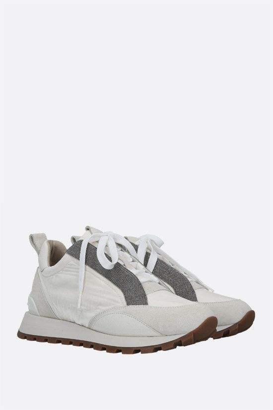 BRUNELLO CUCINELLI: Rip Stop fabric and suede sneakers Color White_2