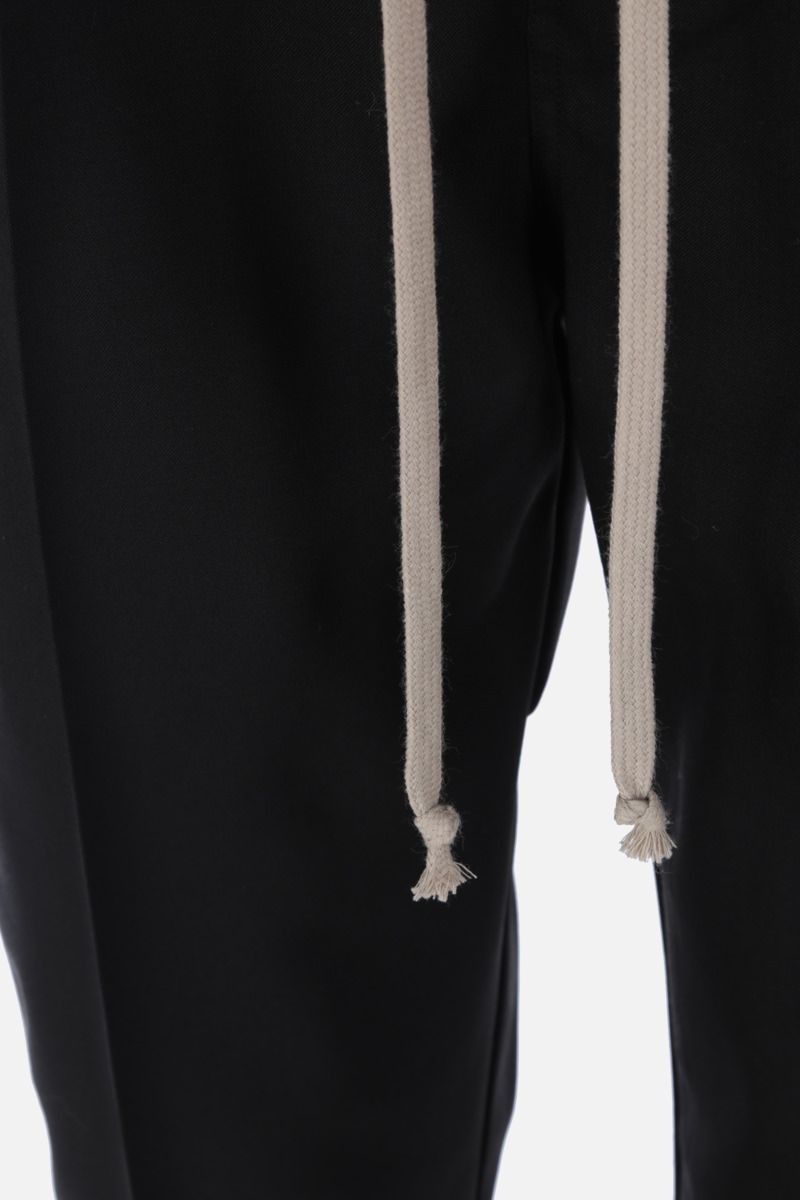 RICK OWENS: pantalone cropped Astaires in lana stretch Colore Black_3