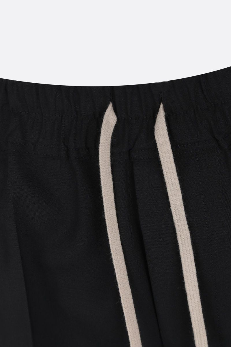 RICK OWENS: pantalone cropped Astaires in lana stretch Colore Black_4