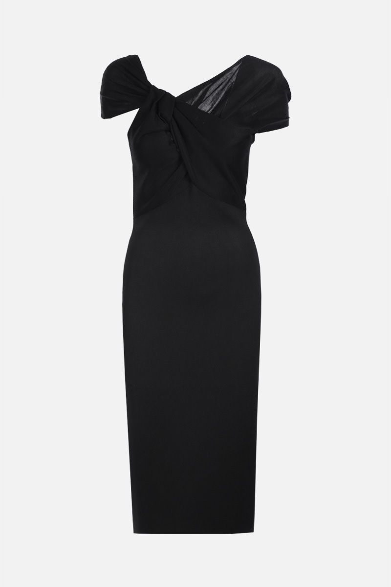 VICTORIA BECKHAM: twist drape stretch knit midi dress Color Black_1
