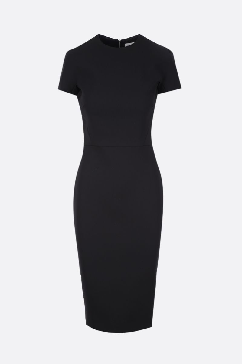VICTORIA BECKHAM: t-shirt fitted dress in bonded crepe Color Black_1