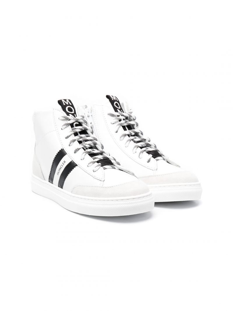 MONCLER KIDS: Anyse smooth leather high-top sneakers Color White_1