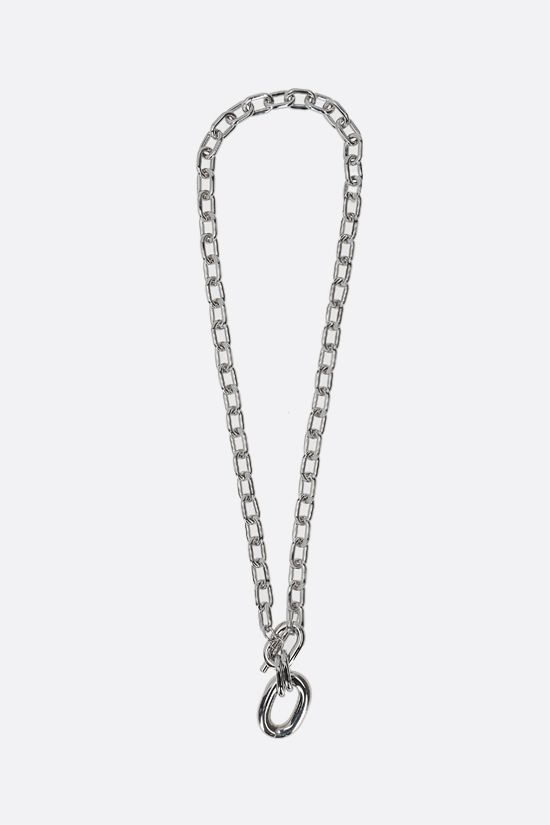 PACO RABANNE: XL Link brass chain necklace Color Silver_1