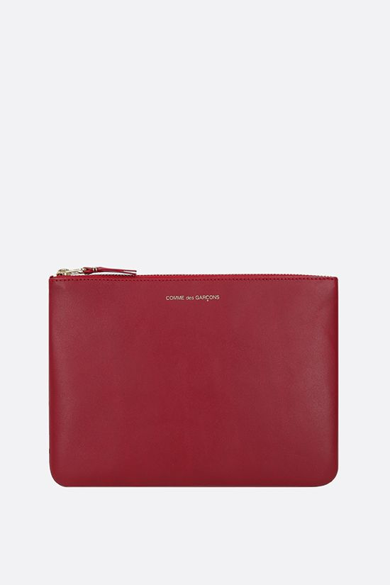 COMME des GARCONS WALLET: smooth leather large pouch Color Red_1