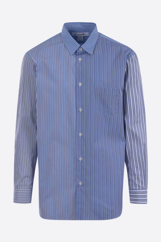 COMME des GARCONS SHIRT: camicia in cotone a righe patchwork Colore Blu_1