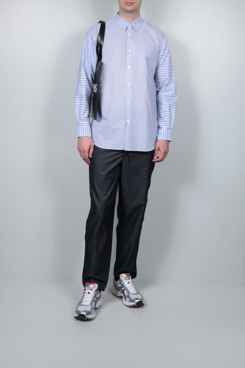 COMME des GARCONS SHIRT: camicia in cotone a righe patchwork Colore Blu_2