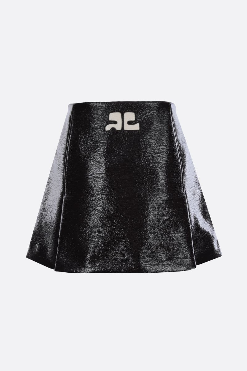 COURREGES: logo-detailed vinyl A-line miniskirt Color Brown_2