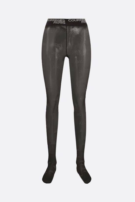 COURREGES: logo-detailed nylon tights Color Brown_1