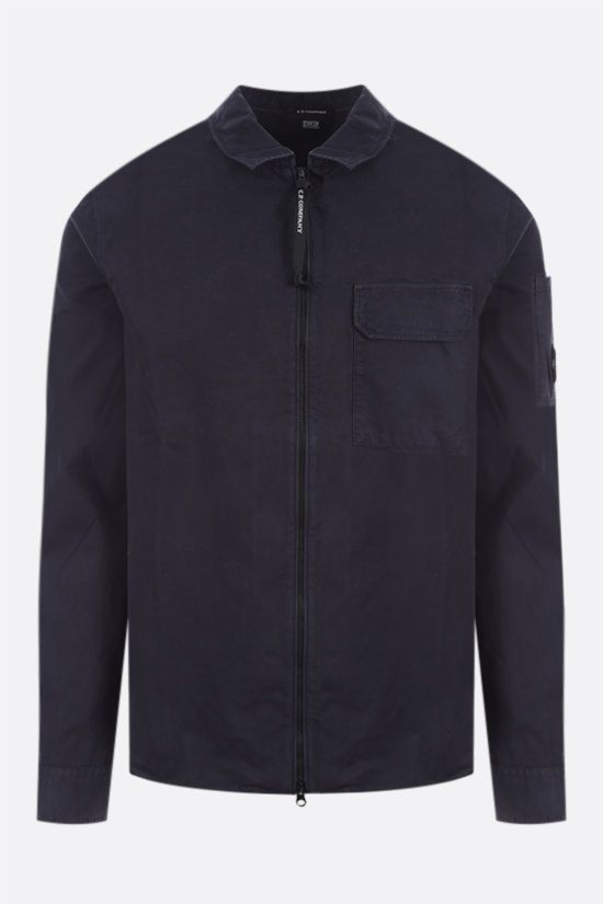 CP COMPANY: cotton full-zip shirt Color Blue_1