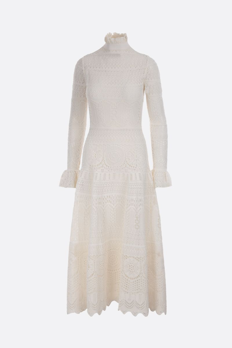 ALEXANDER McQUEEN: engineered lace knitted long dress Color White_1