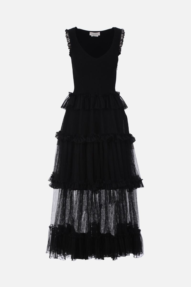 ALEXANDER McQUEEN: stretch knit sleeveless dress Color Black_1