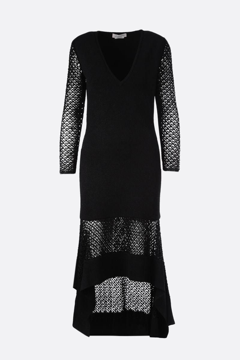 ALEXANDER McQUEEN: lurex knit long dress Color Black_1