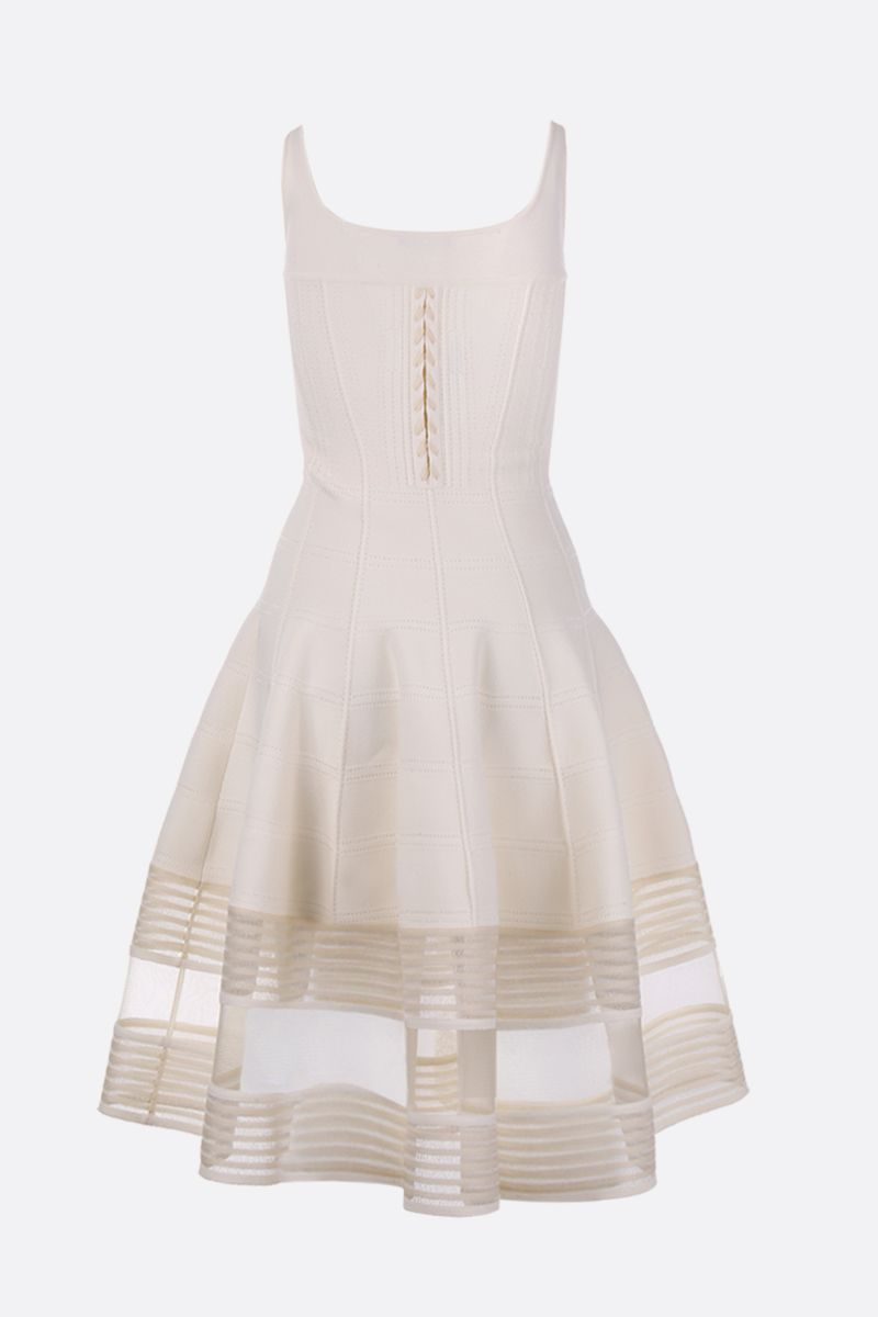 ALEXANDER McQUEEN: stretch knit midi dress with corset detail_2