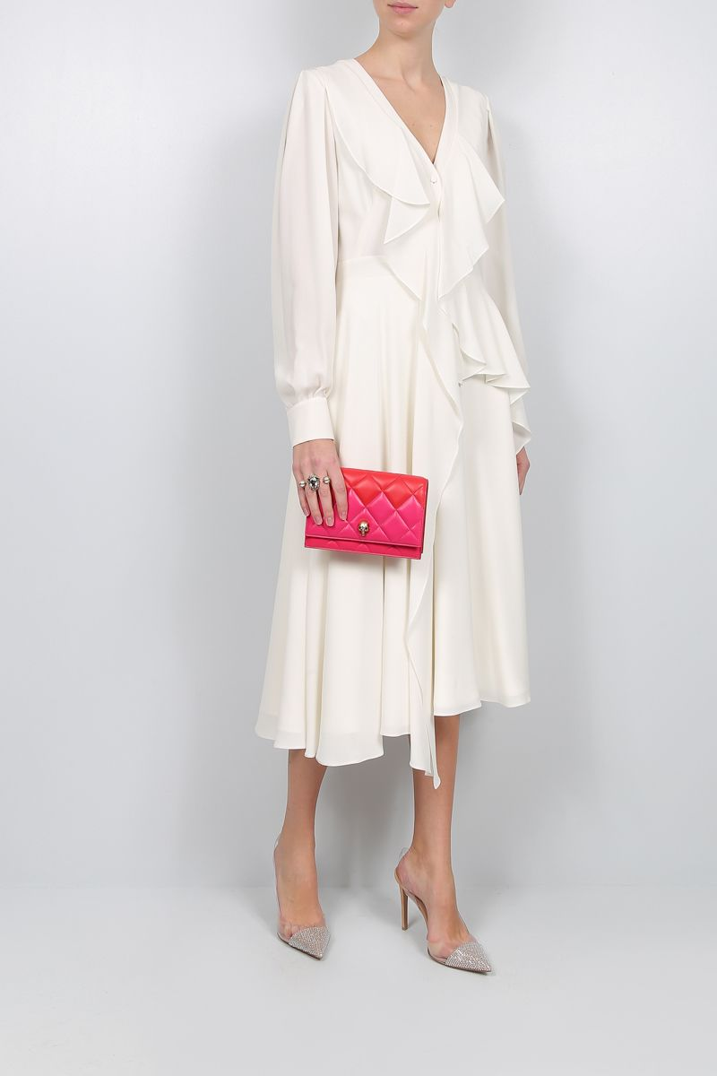 ALEXANDER McQUEEN: crepe de chine frilled midi dress Color White_2