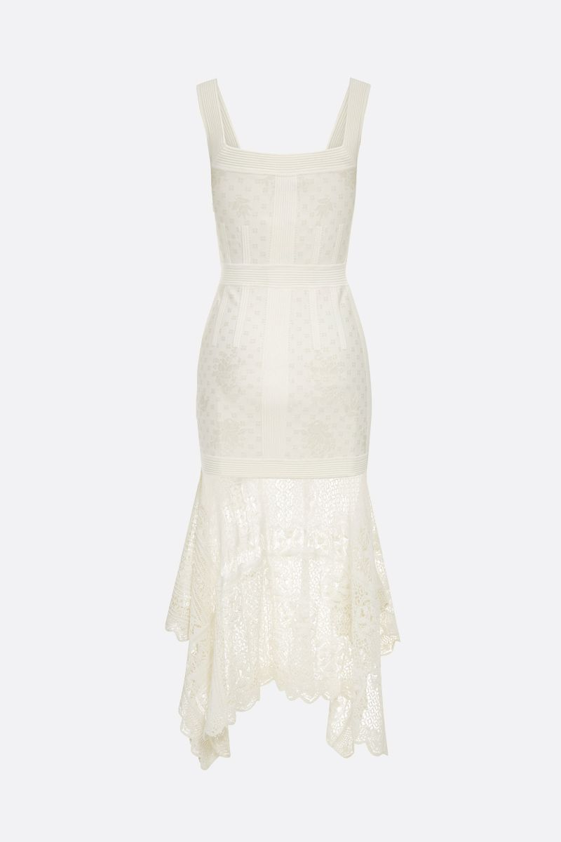ALEXANDER McQUEEN: floral jacquard midi dress Color White_2