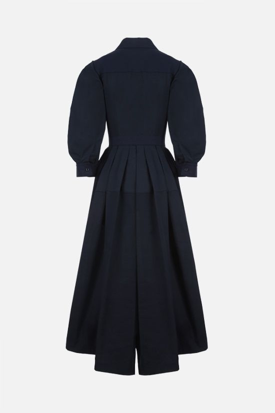 ALEXANDER McQUEEN: Harness cotton midi dress Color Blue_2