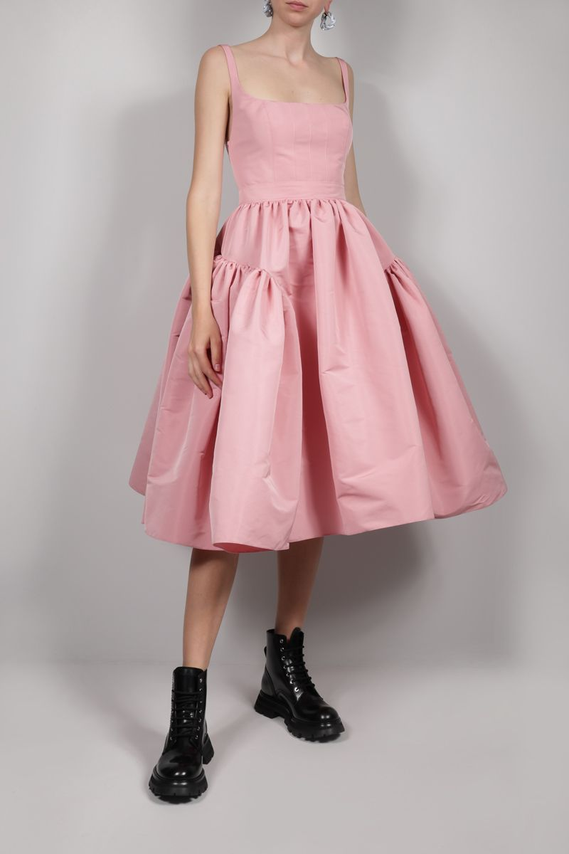 ALEXANDER McQUEEN: polyfaille gathered dress Color Pink_2