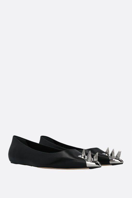 ALEXANDER McQUEEN: Punk shiny leather ballerinas Color Black_2