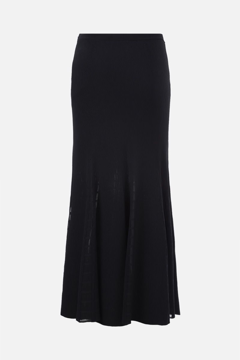 ALEXANDER McQUEEN: Ottoman knit midi skirt Color Black_2