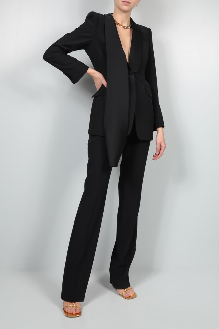 ALEXANDER McQUEEN: straight-fit stretch cady pants Color Black_2
