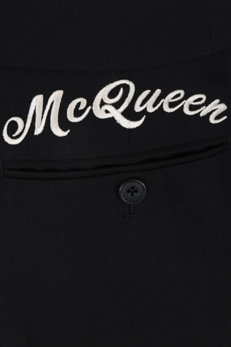 ALEXANDER McQUEEN: McQueen embroidered cotton slim-fit pants Color Black_4