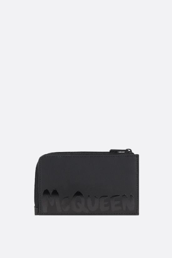 ALEXANDER McQUEEN: McQueen Graffiti smooth leather coin purse Color Black_1