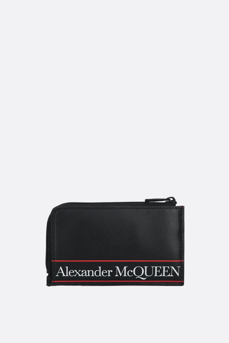 ALEXANDER McQUEEN: logo printed smooth leather coin purse Color Black_1