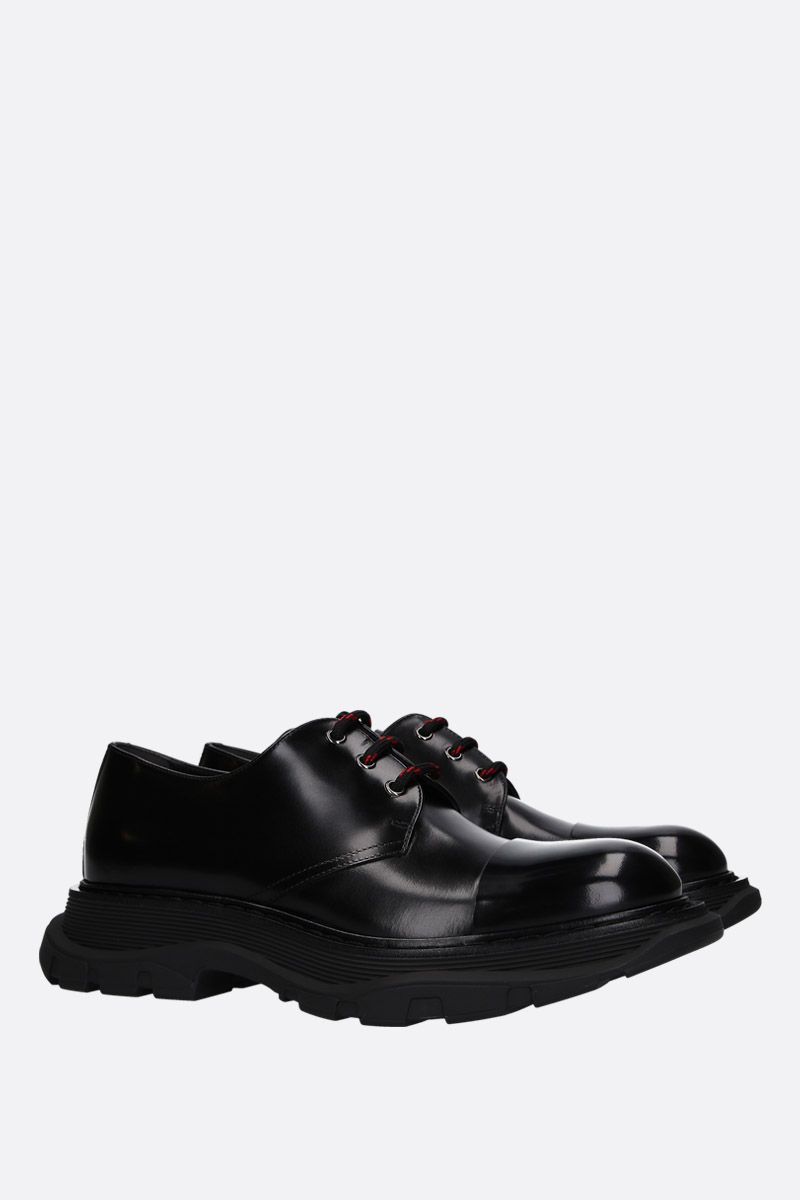 ALEXANDER McQUEEN: smooth leather derby shoes with oversized sole Color Black_2