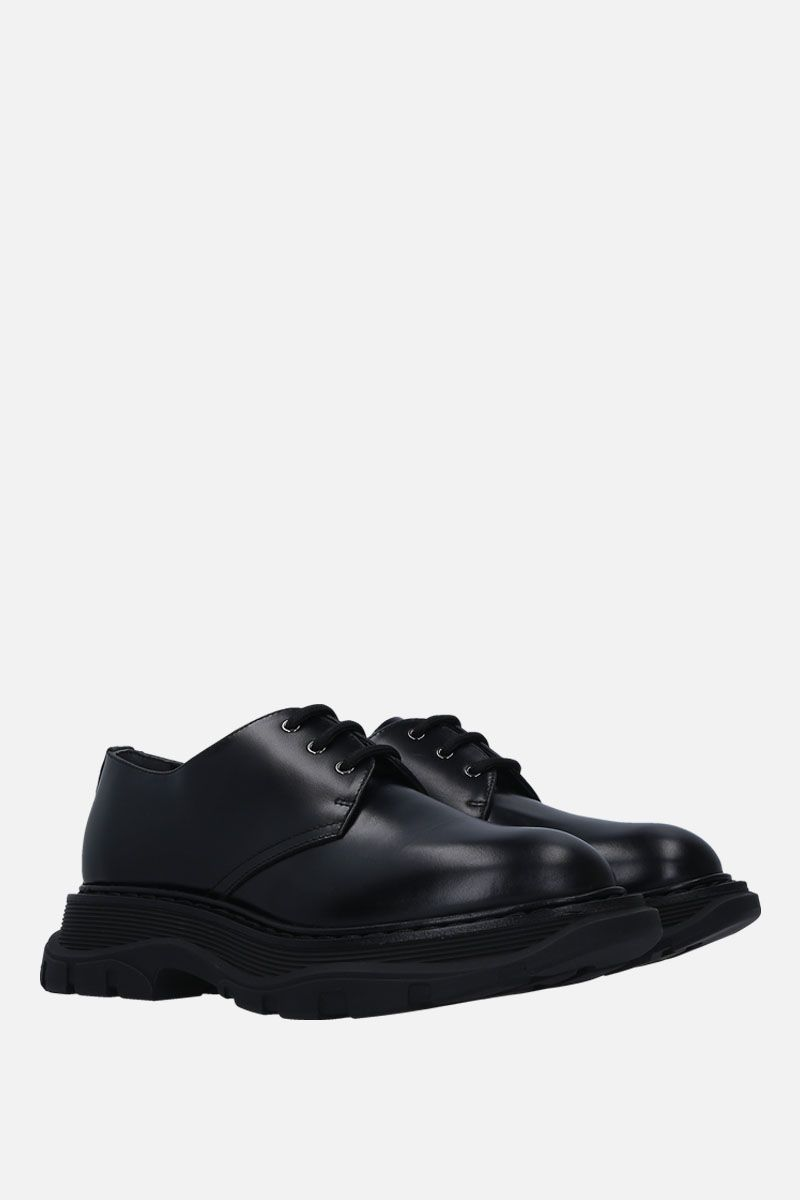 ALEXANDER McQUEEN: brushed calf derby shoes Color Black_2
