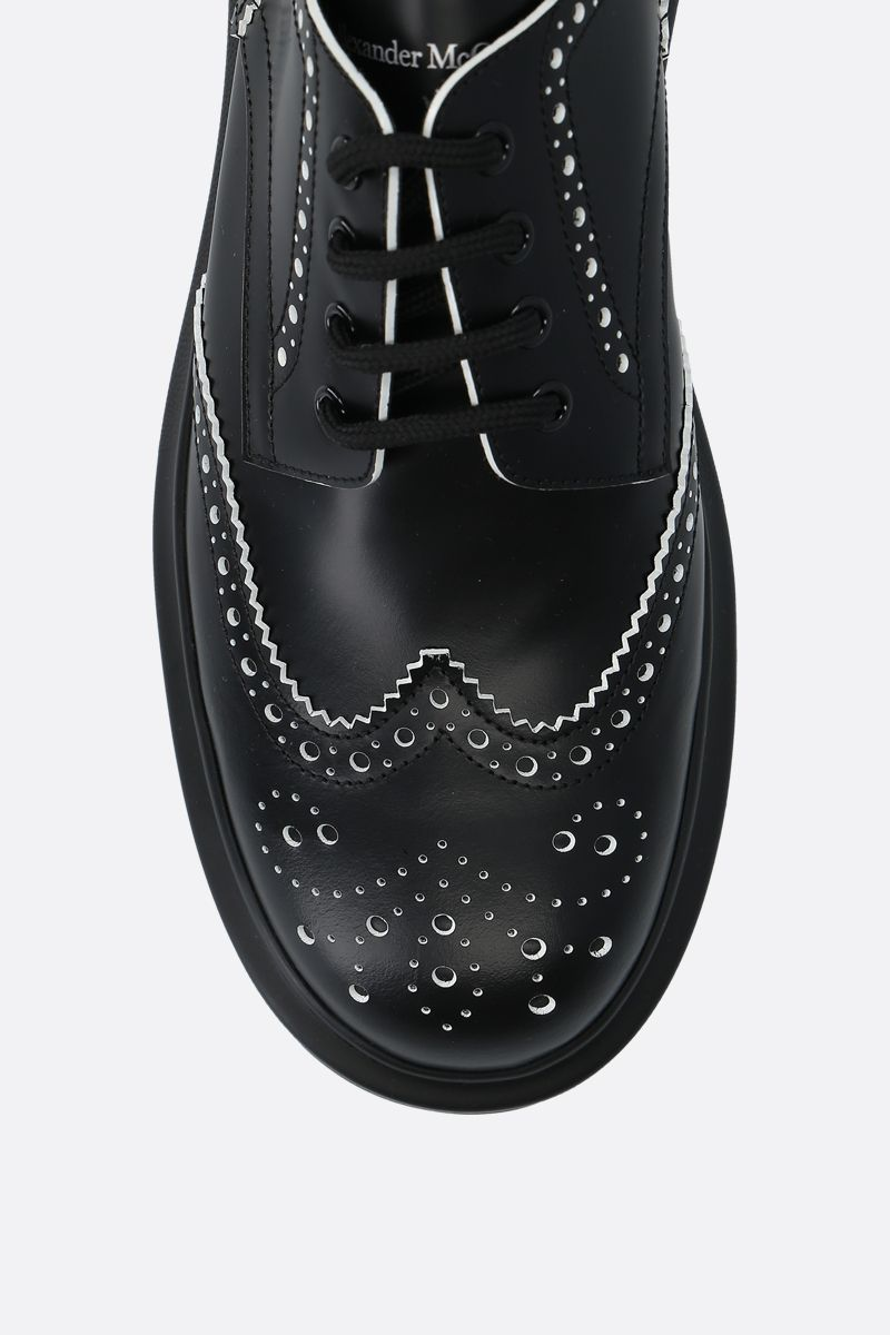 ALEXANDER McQUEEN: brushed calf derby shoes Color Black_4